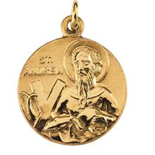 St. Andrew Round Medal Pendant in 14 Karat Yellow Gold 18.00 MM
