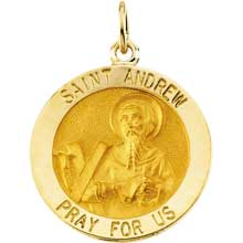 St. Andrew Round Medal Pendant in 14 Karat Yellow Gold