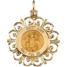 St. Anne Round Fleur de Lis Pendant in 14 Karat Yellow Gold