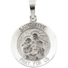 St. Anne Round Medal Pendant in 14 Karat White Gold