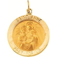 St. Anne Round Medal Pendant in 14 Karat Yellow Gold