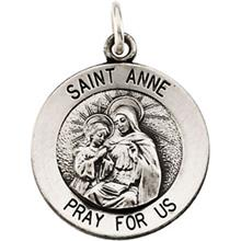 St. Anne Round Medal Pendant in Sterling Silver with Chain