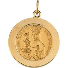 St. Anne de Beau Pre Round Medal Pendant in 14 Karat Yellow Gold