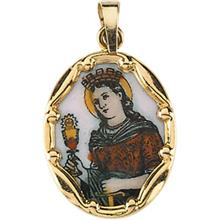 St Barbara 14kt Gold Hand Painted Porcelain Medal