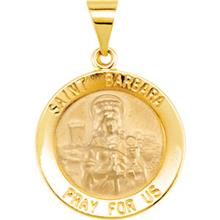 St Barbara 14kt Yellow Gold Hollow Medal