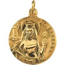 St Barbara 14kt Yellow Gold Pendant