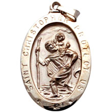 St Christopher Oval Solid White Gold Protect Us Medal md:1006:w