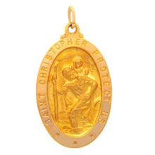 St Christopher Oval Solid Yellow Gold Protect Us Medal md:1006:y