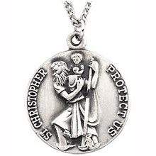 md:1086:ss Sterling Silver Saint Christopher Necklace