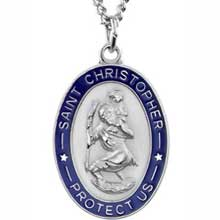 St Christopher Oval Blue Enamel Solid Sterling Silver Protect Us Medal md:1016:s