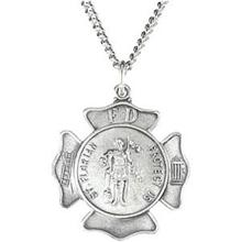 St Florian Round Fire Fighters Solid Sterling Silver Protect Us Medal md:1060:s