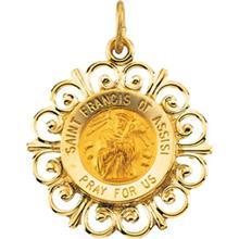 St Francis of Assisi Round Fleur de lis Yellow Gold Pendant