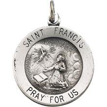 St Francis of Assisi Round Sterling Silver Medal Necklace