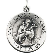 St Francis of Assisi Round Sterling Silver Necklace