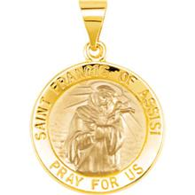 St Francis of Assisi Round Yellow Gold Hollow Pendant
