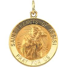 St Francis of Assisi Round Yellow Gold Pendant