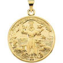 St Francis of Assisi Yellow Gold Medal