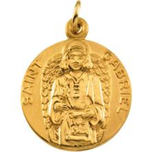 St Gabriel Round 14kt Yellow Gold Medal