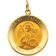 St Gabriel Round 14kt Yellow Gold Pendant