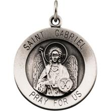 St Gabriel Round Sterling Silver Necklace With Chain
