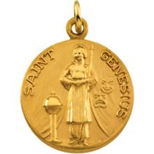 St Genesius Round Yellow Gold Medal