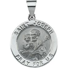 St Joseph 14kt White Gold Hollow Medal