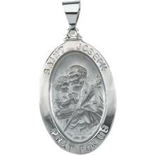St Joseph 14kt White Gold Oval Hollow Medal