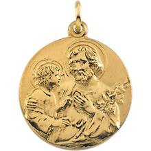 St Joseph 14kt Yellow Gold Round Medal