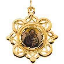 St Joseph Fancy Design Yellow Gold Medal