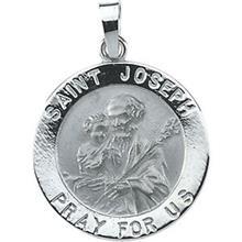St Joseph Round 14k White Gold Medal