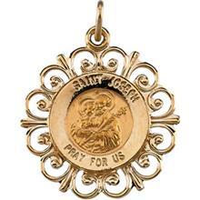 St Joseph Round Fluer de lis 14k Yellow Gold Pendant