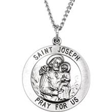 St Joseph Round Sterling Silver Necklace With Chain