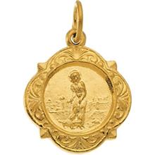 St Lazarus Small Yellow Gold Pendant