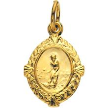 St Lazarus Tiny Yellow Gold Pendant