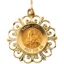 Saint Lucy Round Medal Fleur De Lis Pendant in 14 Karat Yellow Gold