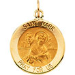 St Mark Round Yellow Gold Medal md:1210:y