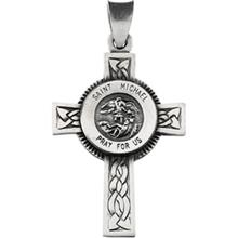 St Michael Cross Necklace In Sterling Silver With Chain
