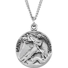 St Michael Solid 14 Karat White Gold Simple Medal md:1040:w