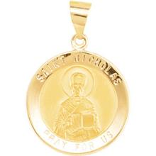 St Nicholas Round Yellow Gold Hollow Pendant