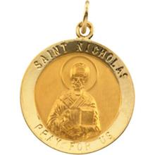 St Nicholas Round Yellow Gold Medal