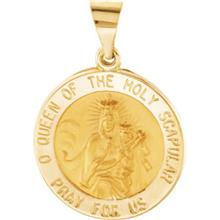 Scapular Round Hollow Yellow Gold Medal