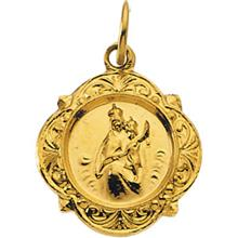 Scapular Small Polished Yellow Gold Pendant
