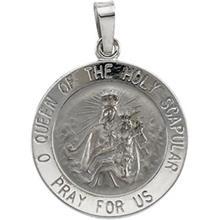 Scapular White Gold Round Medal