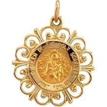 Scapular Yellow Gold Round Fluer de Li Pendant