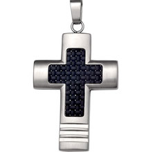 Stainless Steel Cross Pendant With Carbon Fiber Center cr:1046:st